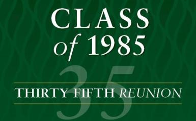 Text with Class of 1985 Reunion information