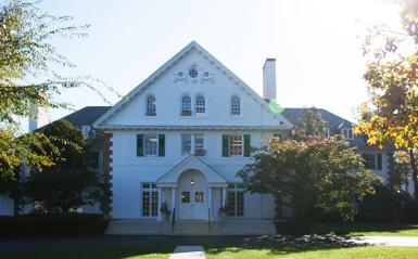 Lasker Hall, an old white building on the DelVal campus