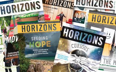 Horizons Magazine covers in a collage
