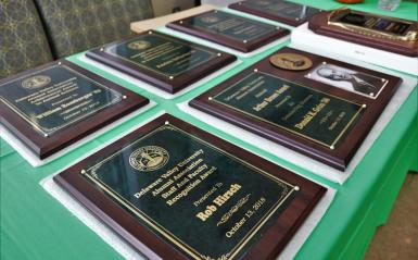 Plaques lined up on a table.