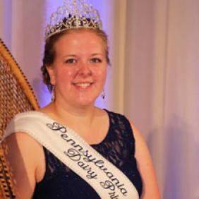 Ashley Mohn wearing her Pennsylvania Dairy Princess sash and crown