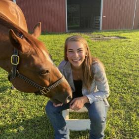 Jalene Beach, a DelVal animal science grad, was accepted to Cornell for veterinary school.