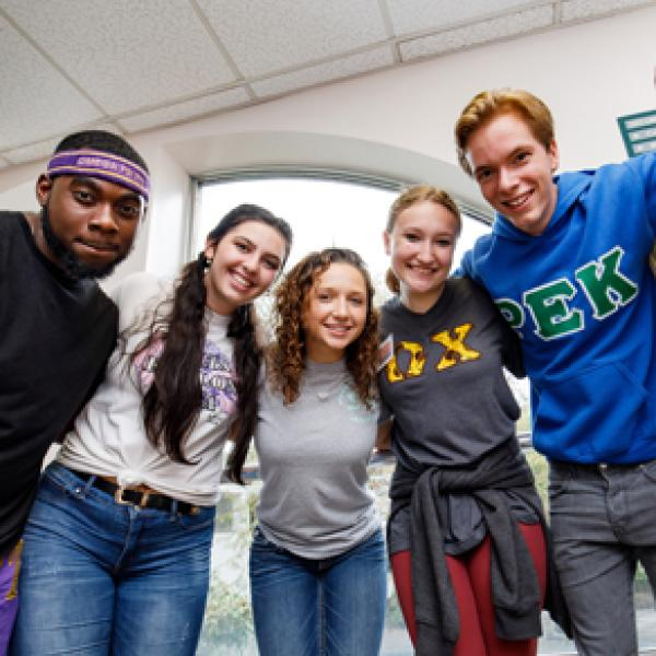 A group of sorority and fraternity students.