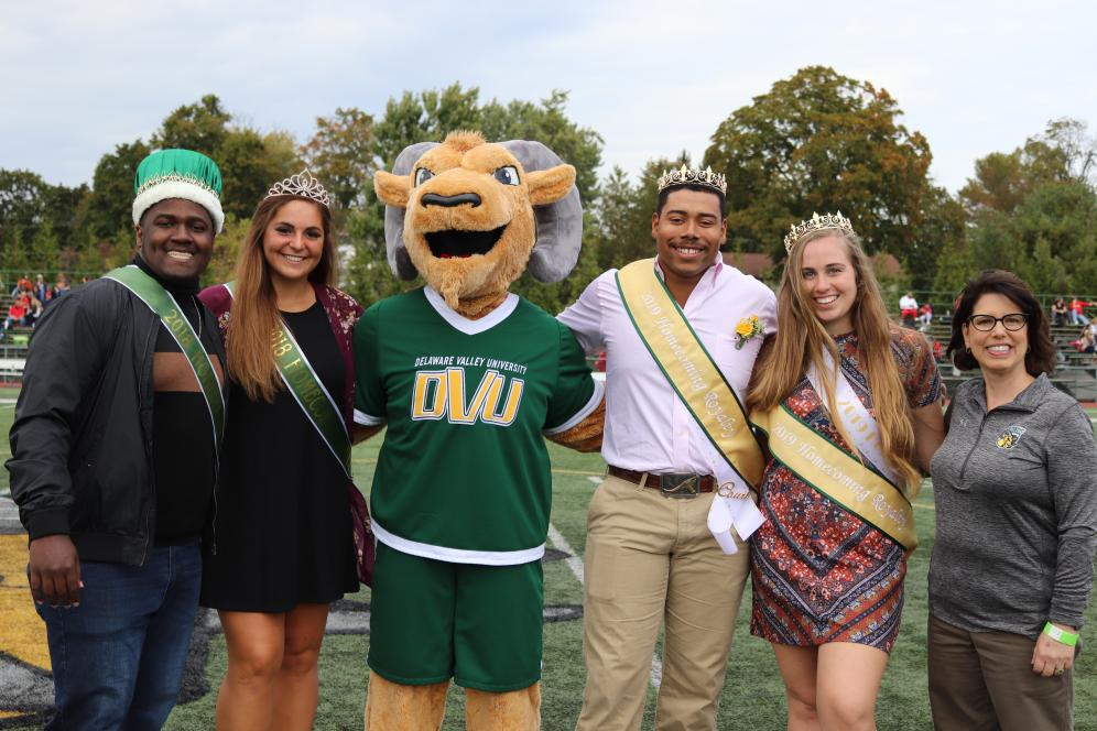 Homecoming court and Del Val mascot.