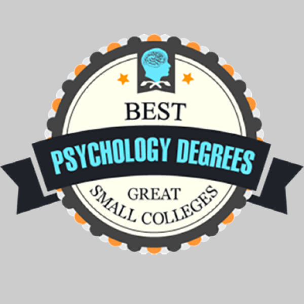 A badge that reads Best Psychology Degrees - Great Small Colleges