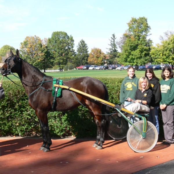 Students pose with a horse and racing carriage.