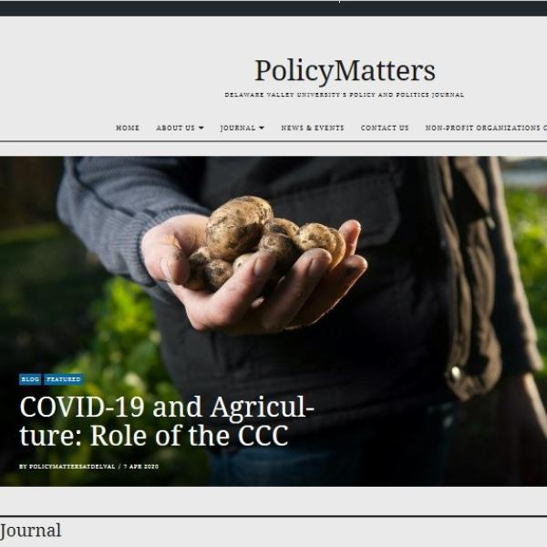 A screenshot of the Policy Matters site. The lead story is on COVID-19 and agriculture.
