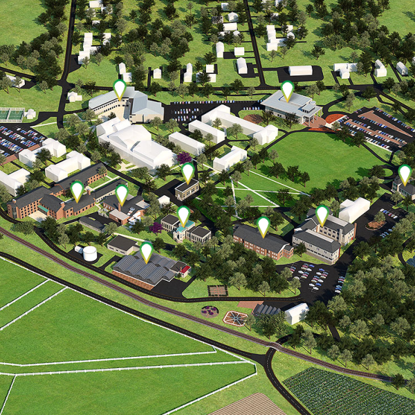 A three dimensional rendering of Delaware Valley University's Main Campus.