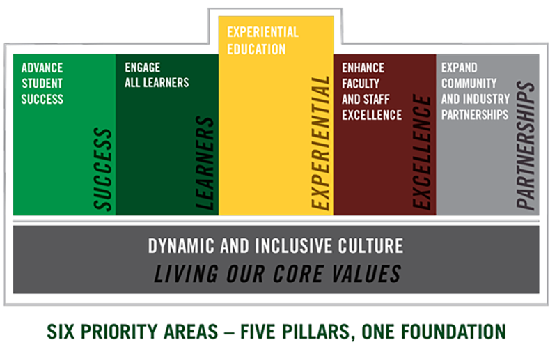 An infographic describing the pillars of DelVal's strategic plan.