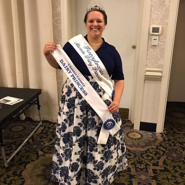 Casandra Blickley wearing her Chester County Dairy Princess crown and sash.