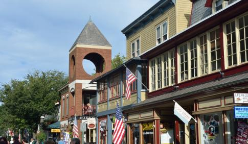 A row of businesses on the main street in Doylestown, Pennsylvania.