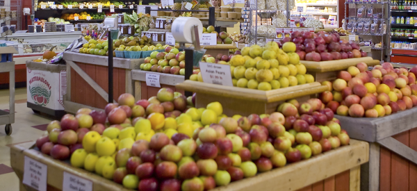 Apples on display and for sale at The Market on Delaware Valley University's campus.