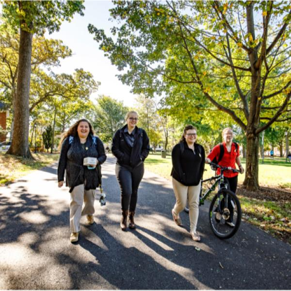 four college-aged students walking together under some trees